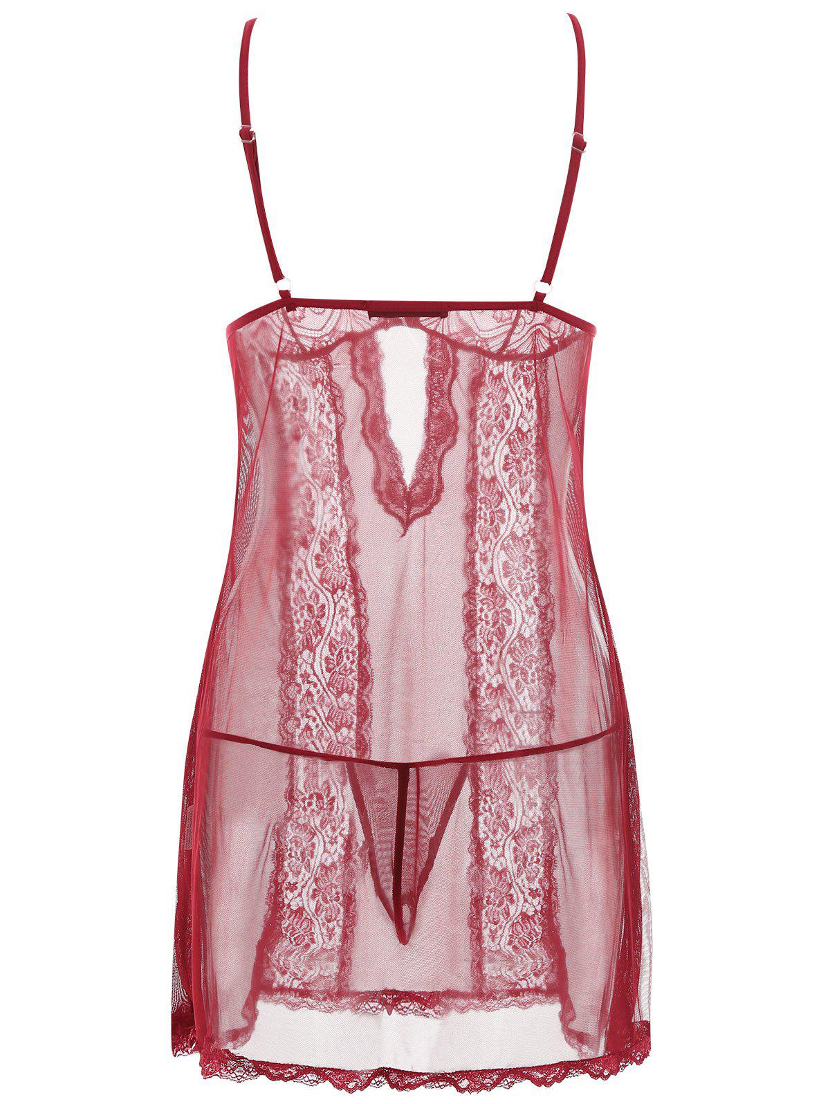 Slip Lace Panel Mesh Sheer Babydoll - Rouge vineux L