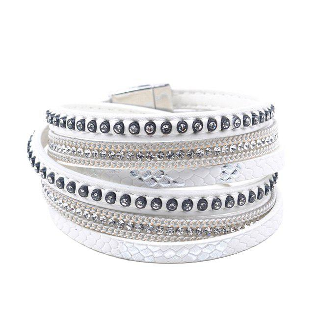 False Leather Layered Rhinestoned Wrap Bracelet - WHITE