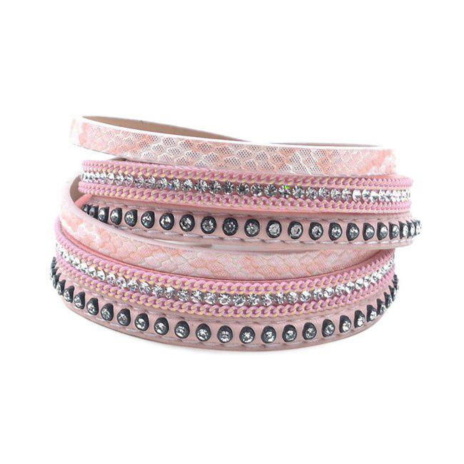False Leather Layered Rhinestoned Wrap Bracelet - PINK