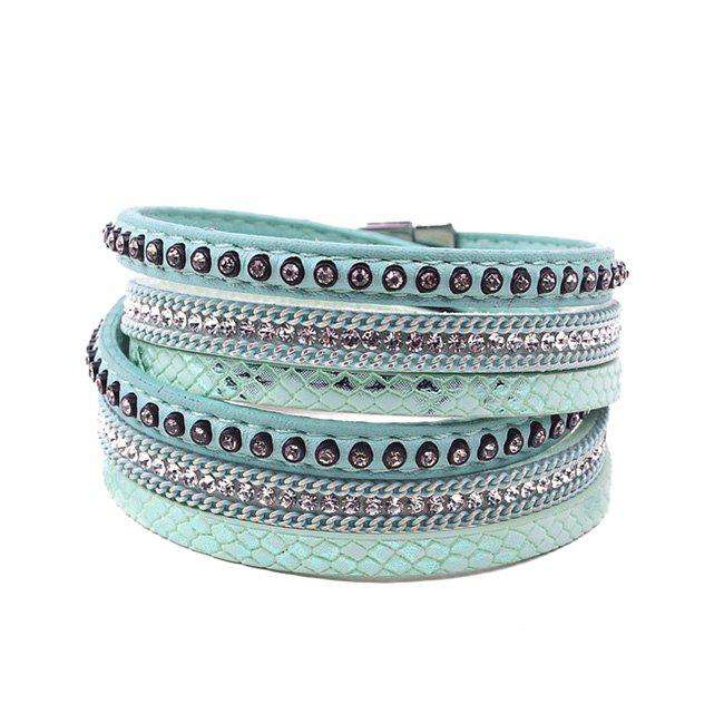 False Leather Layered Rhinestoned Wrap Bracelet - GREEN