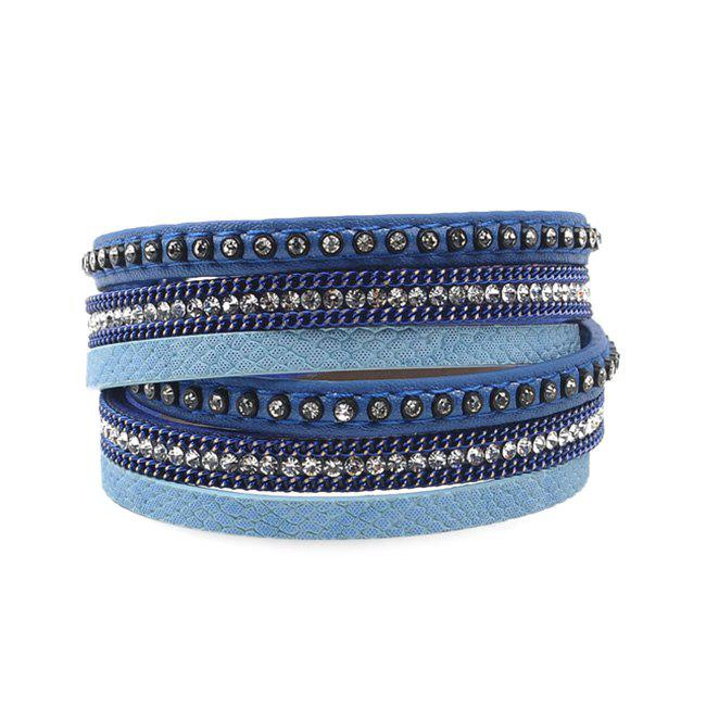 False Leather Layered Rhinestoned Wrap Bracelet - DEEP BLUE