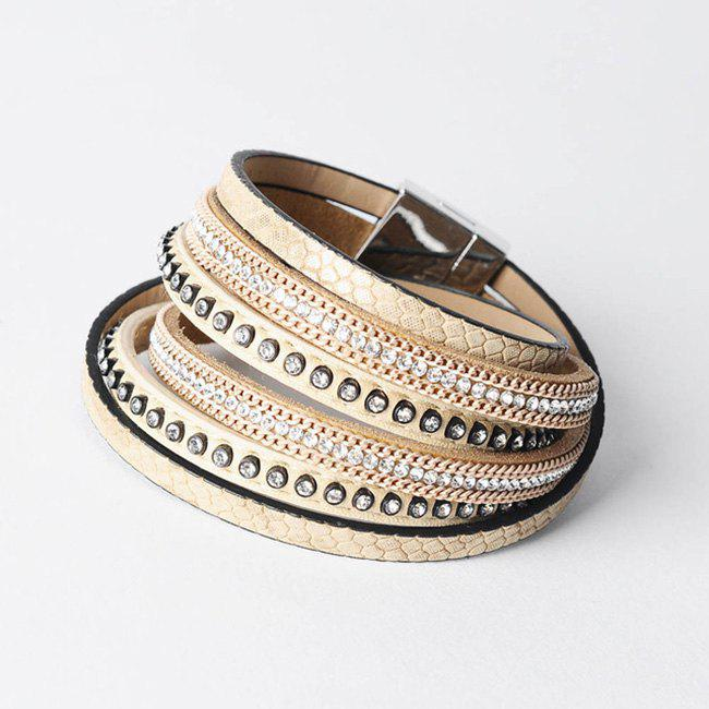 False Leather Layered Rhinestoned Wrap Bracelet - KHAKI