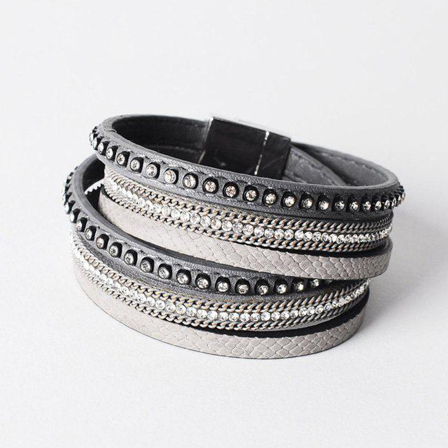False Leather Layered Rhinestoned Wrap Bracelet - GRAY