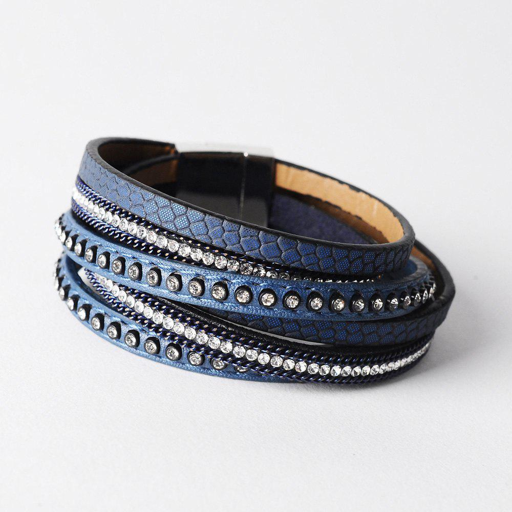 False Leather Layered Rhinestoned Wrap Bracelet - BLUE