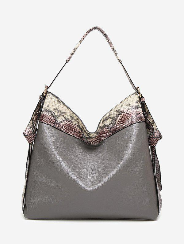 Snakeskin Faux Leather Shoulder Bag - GRAY