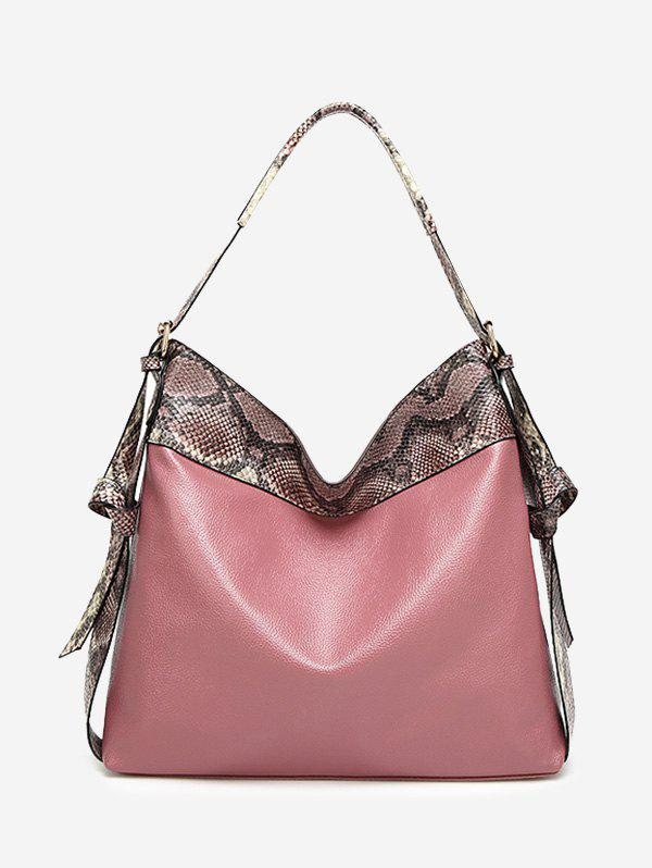 Snakeskin Faux Leather Shoulder Bag - PINK
