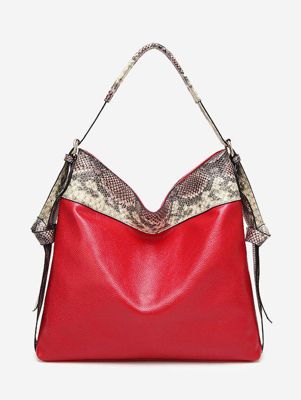 Snakeskin Faux Leather Shoulder Bag - RED