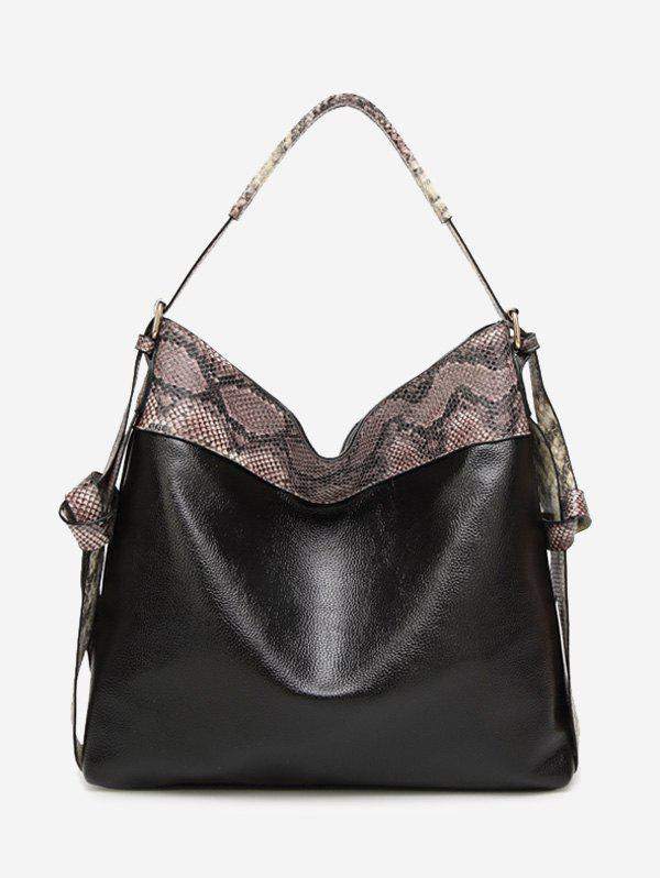 Snakeskin Faux Leather Shoulder Bag - BLACK