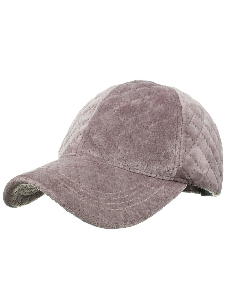 Rhombus Pattern Embroidery Adjustable Snapback Hat - PEONY PINK