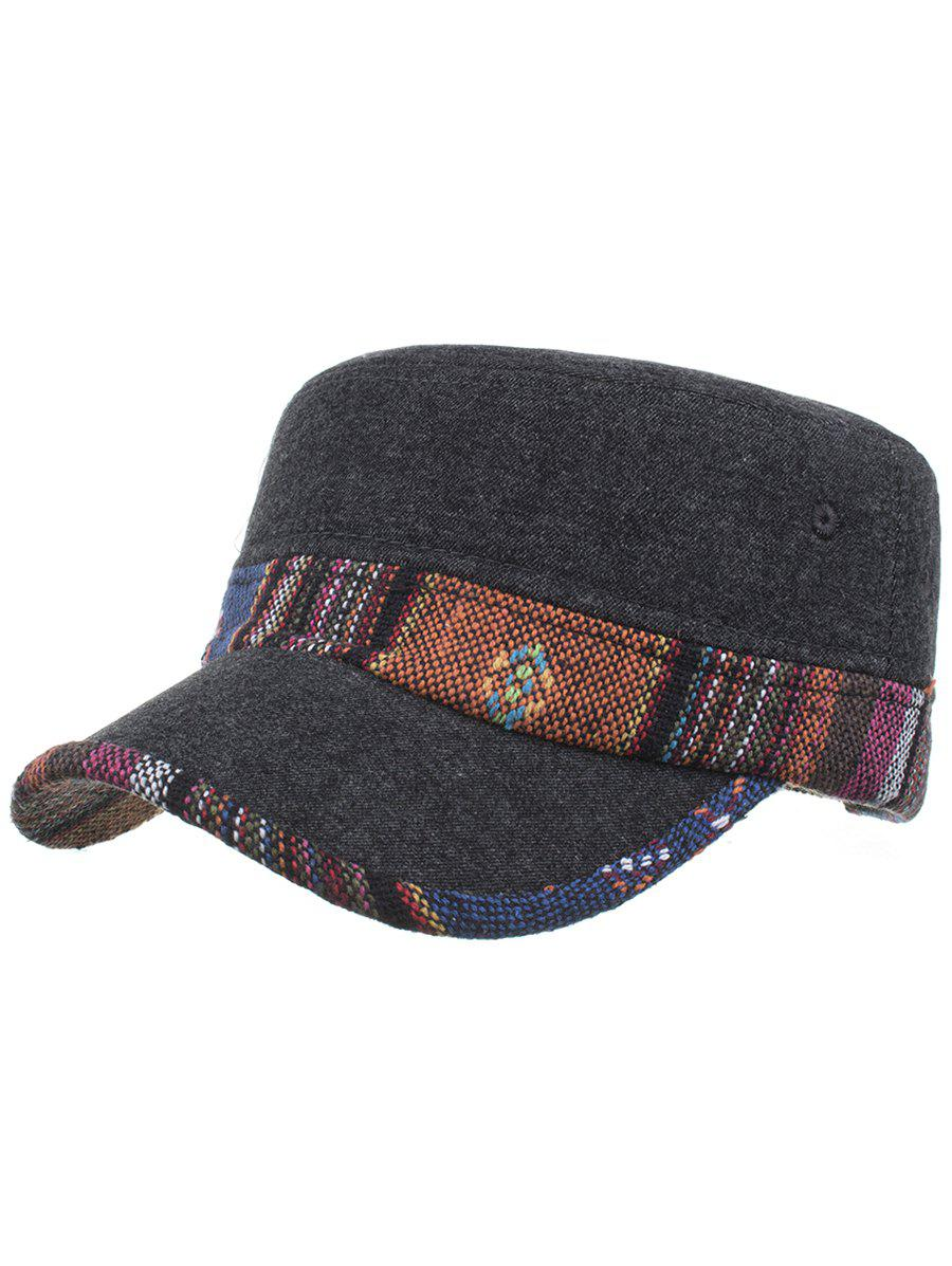 Ethnic Style Pattern Flat Top Adjustable Military Hat -