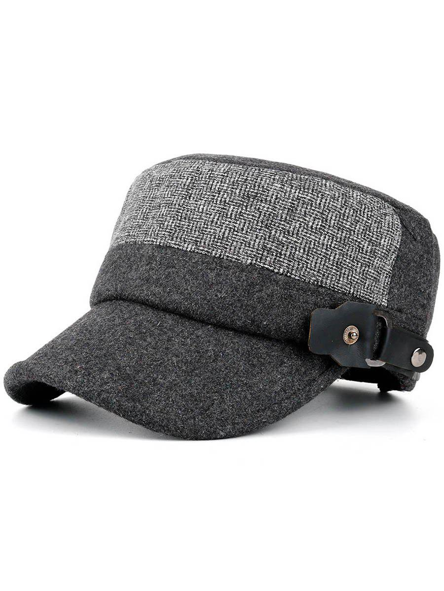 Outdoor Flat Top Button Military Hat - GRAY