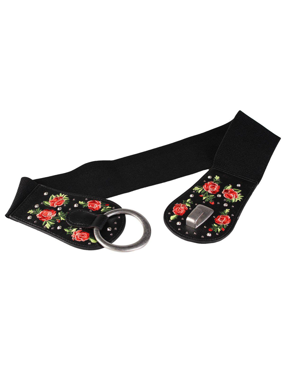 Vintage Round Buckle Floral Embroidery Wide Waist Belt - PATTERN B