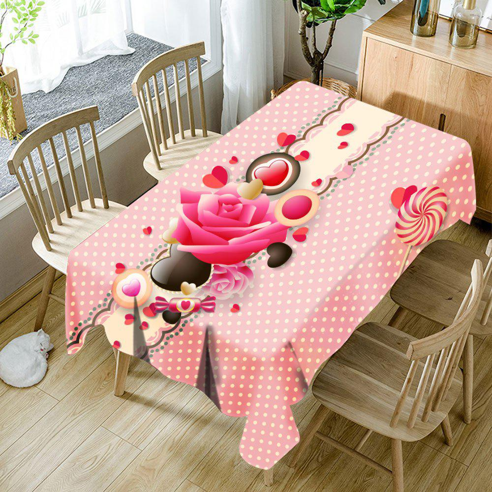 Heart Flower Candy Polka Dot Print Waterproof Table Cloth - COLORMIX W54 INCH * L72 INCH