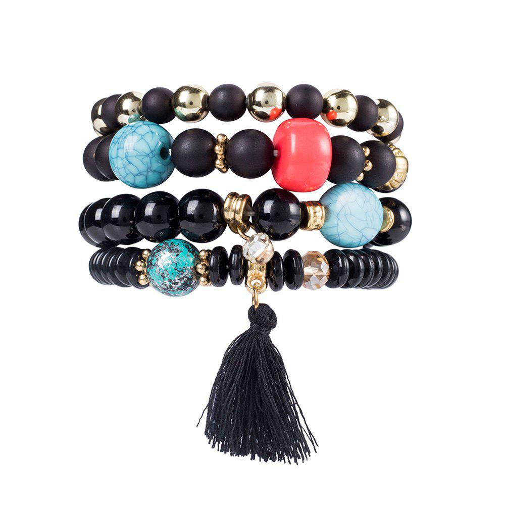 Faux Gem Tassel Ethnic Beaded Bracelet Set - BLACK