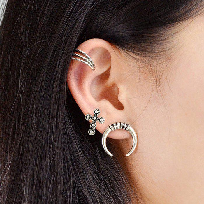 2018 crucifix tribal moon circle cartilage earring set silver in