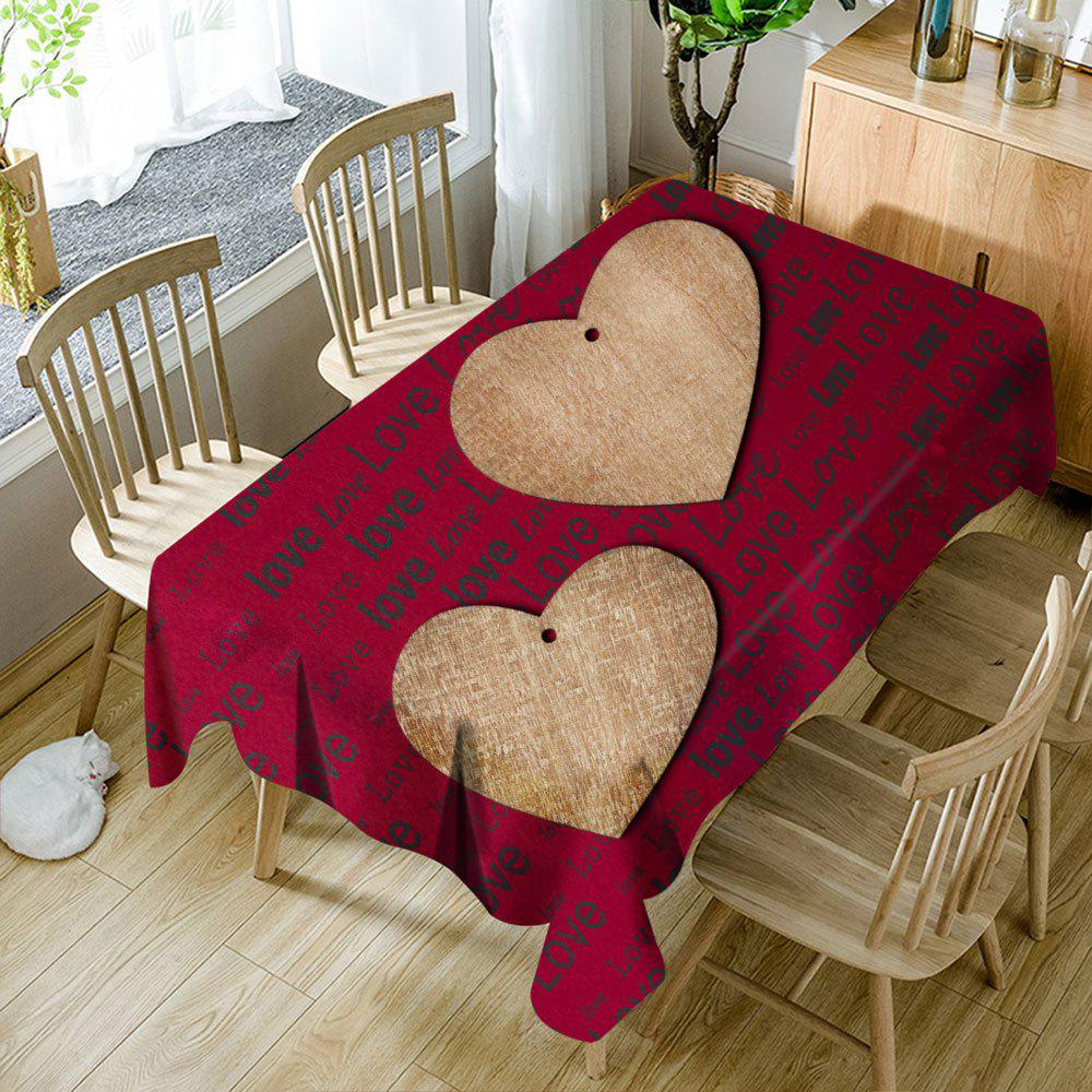 Nappe de Table Imperméable Imprimé Cœurs et Inscription Love - Rouge W54 INCH * L72 INCH