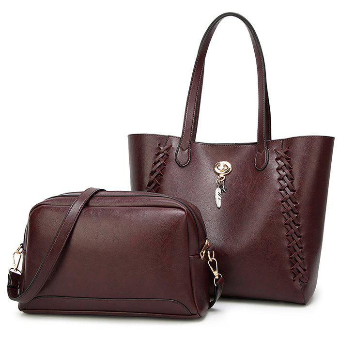 Braid 2 Pieces Shoulder Bag Set - WINE RED