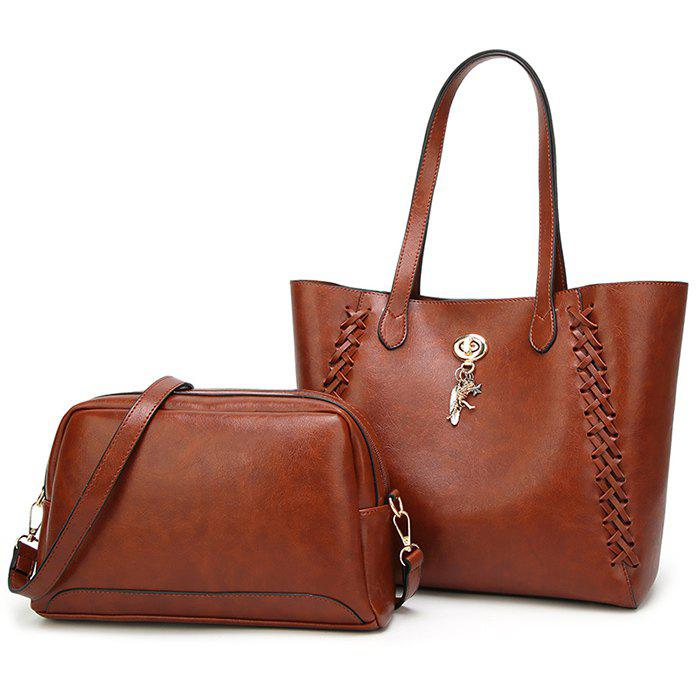 Braid 2 Pieces Shoulder Bag Set - LIGHT BROWN