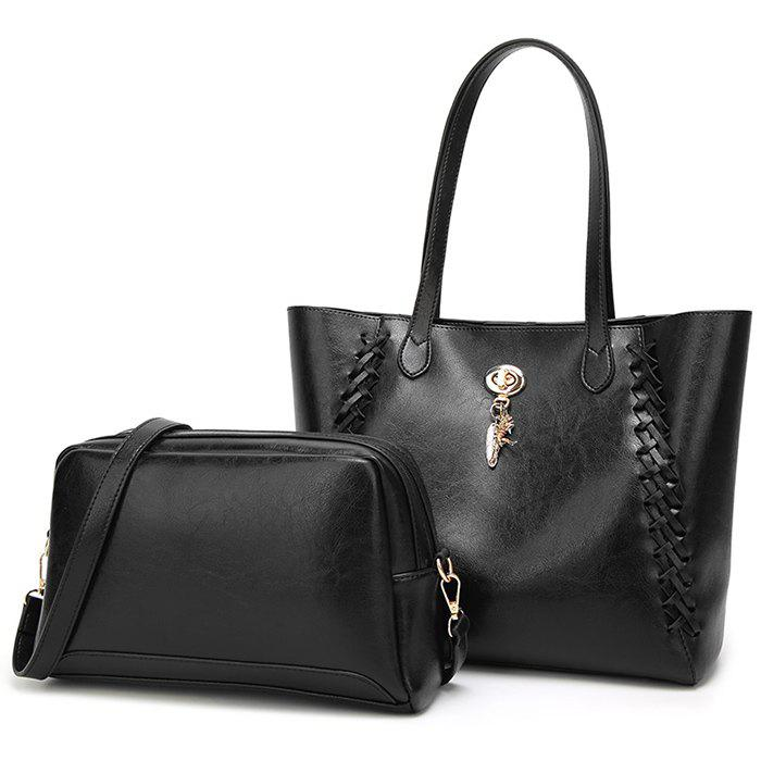 Braid 2 Pieces Shoulder Bag Set - BLACK
