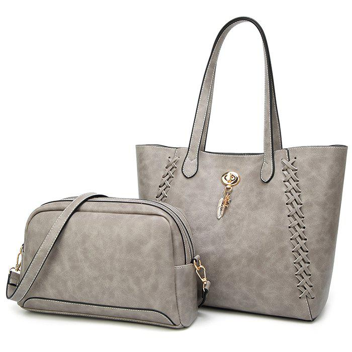 Braid 2 Pieces Shoulder Bag Set - GRAY