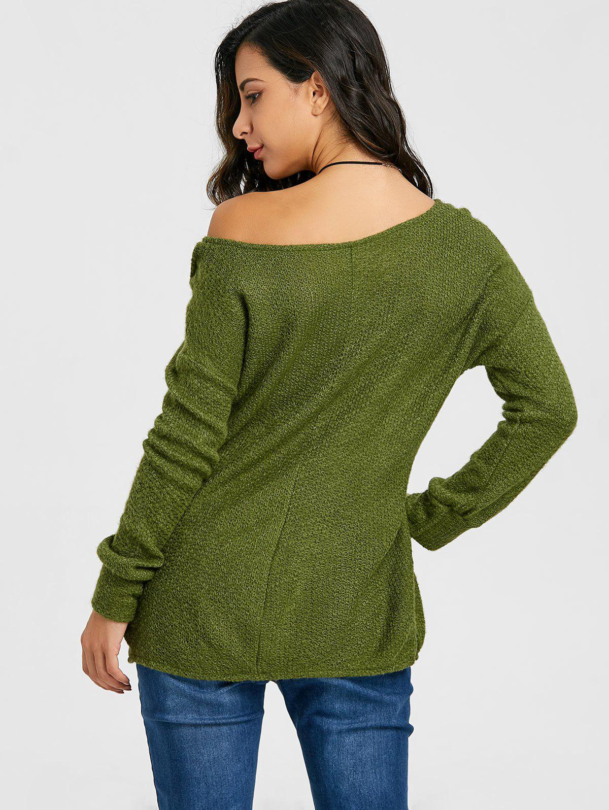 Skew Neck Tunic Knitwear - ARMY GREEN XL