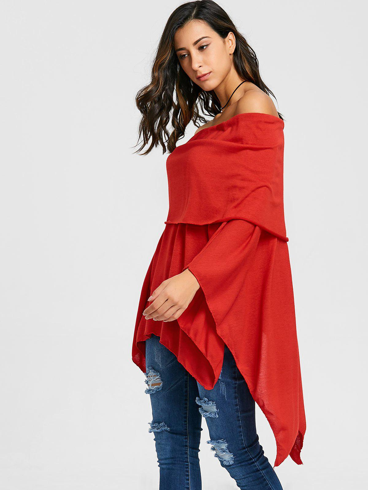 Off The Shoulder Asymétrique Poncho Tricots - Rouge M
