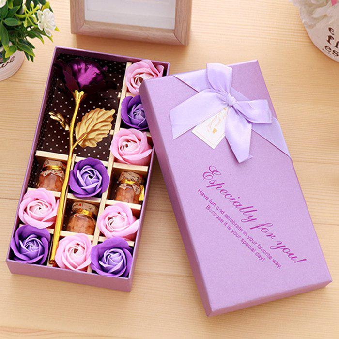Artificial Plated Rose with Soap Flowers In A Box Valentine's Day - PURPLE