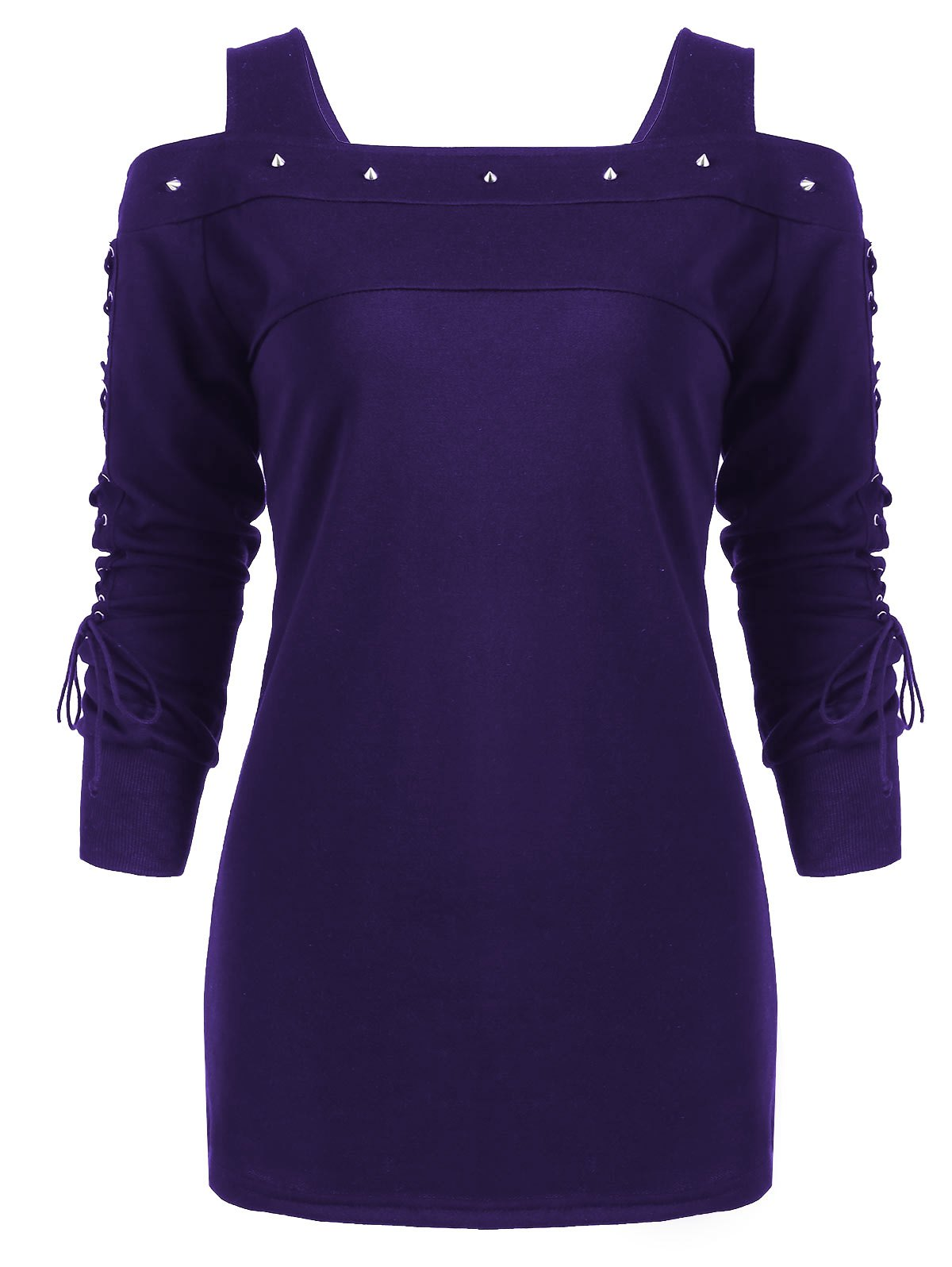 Rivet Lace-up Long Sleeve Cold Shoulder T-shirt purple lace up cold shoulder long sleeves t shirt