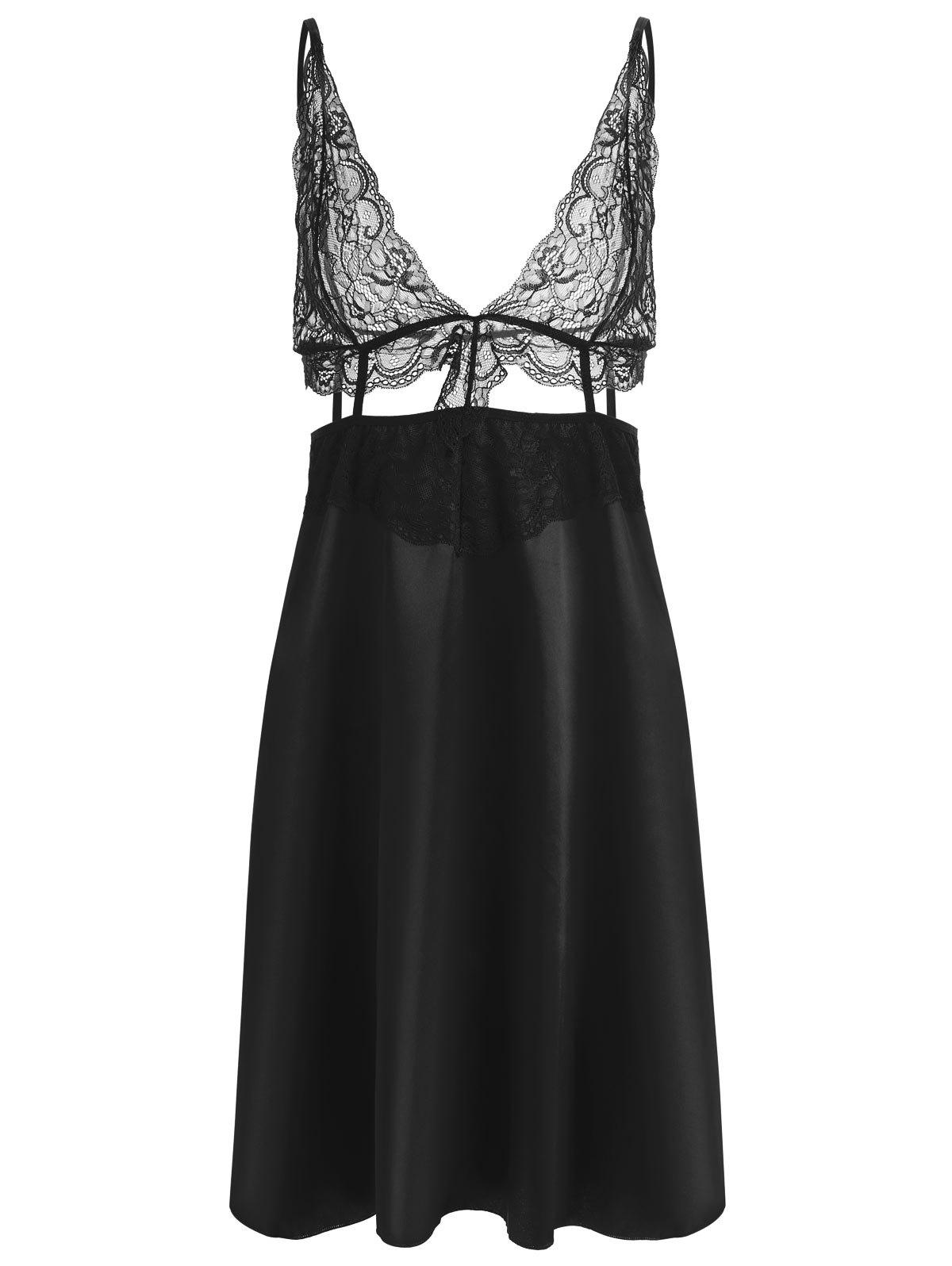 Cut Out Lace Panel Slip Babydoll - BLACK 2XL