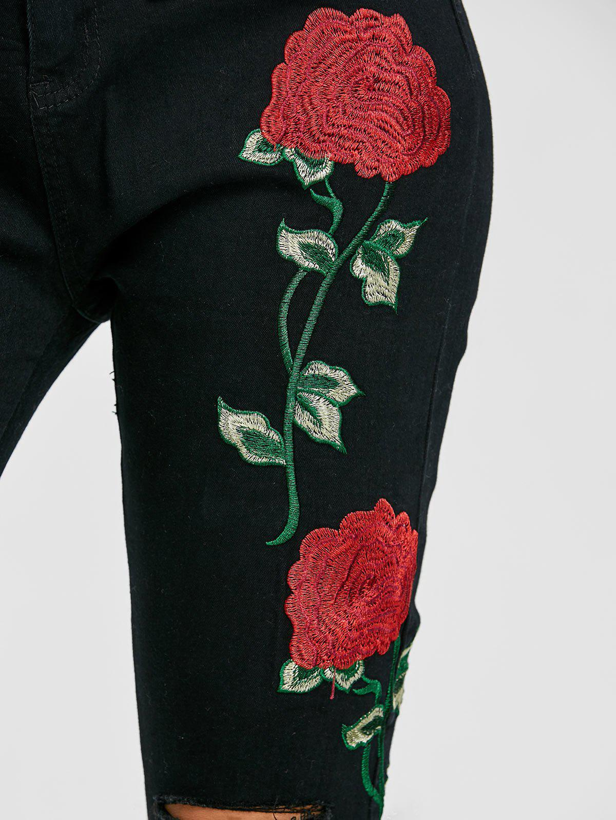 Flower Embroidered Knee Ripped Jeans - BLACK M