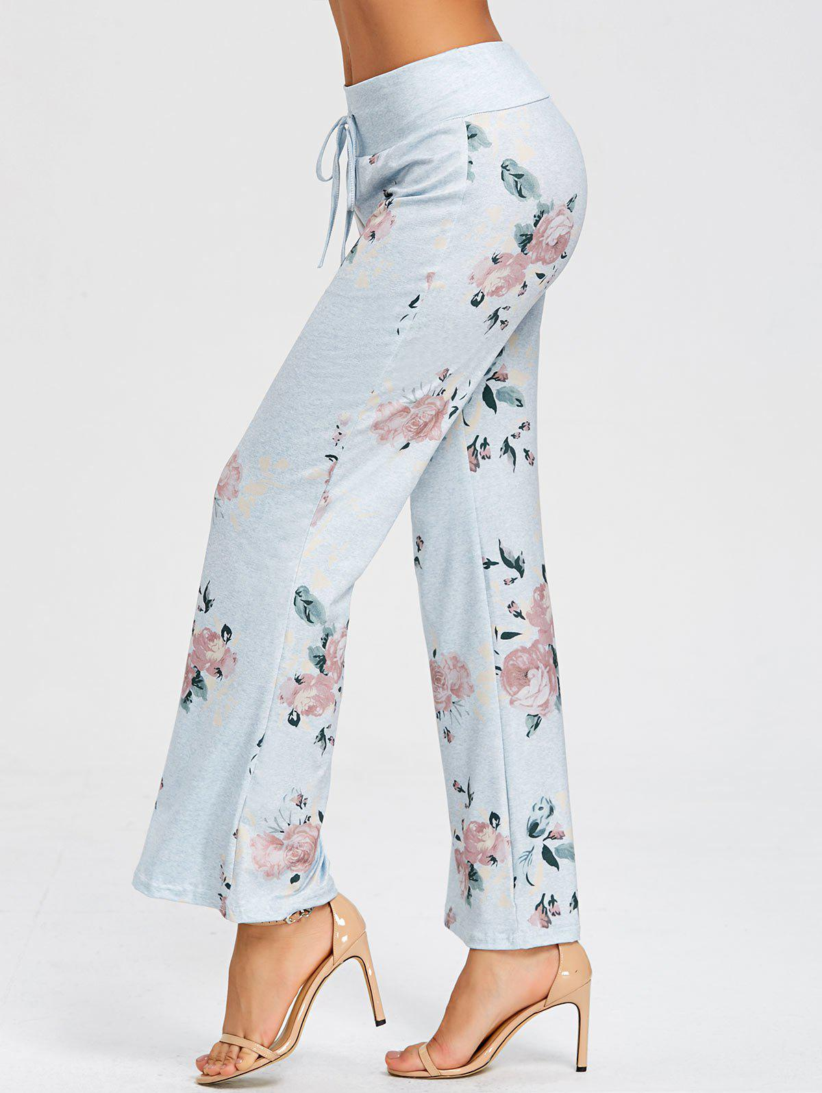 Drawstring Flowers Print Pajama Pants - LIGHT GRAY L