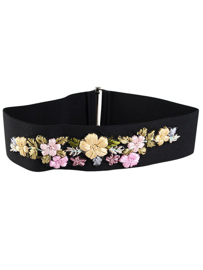 Vintage Rhinestone Floral Decoration Elastic Wide Waist Belt - PINK/YELLOW/GREEN