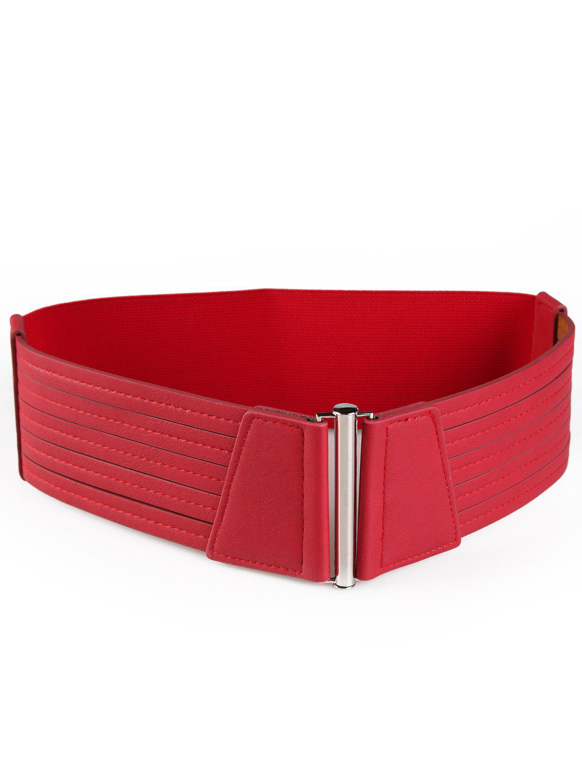 Striped Pattern Faux Leather Elastic Wide Waist Belt - RED
