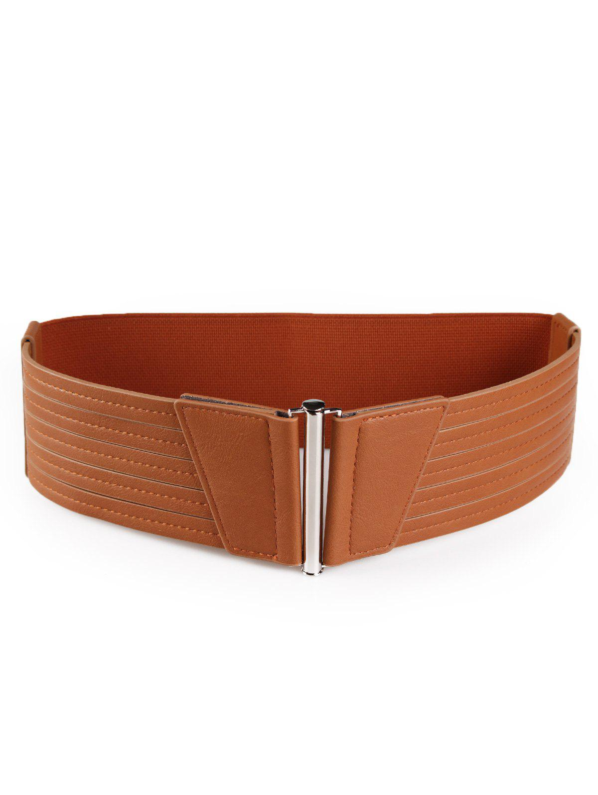 Striped Pattern Faux Leather Elastic Wide Waist Belt - CHOCOLATE