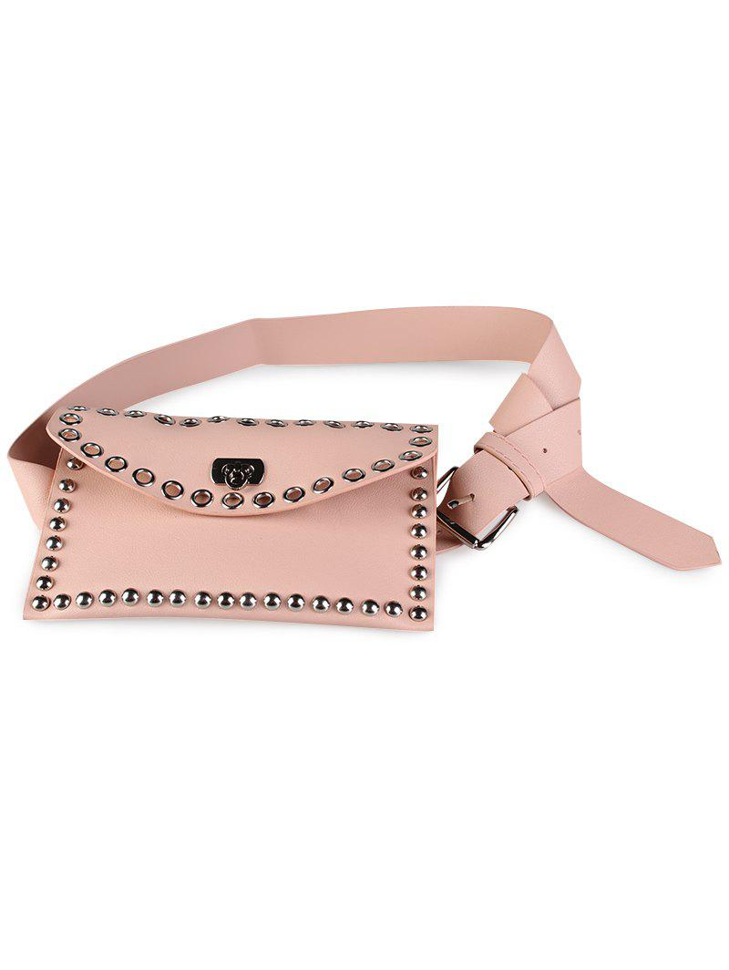 Vintage mini sac à rivets décoration en cuir artificiel Skinny Belt - ROSE PÂLE