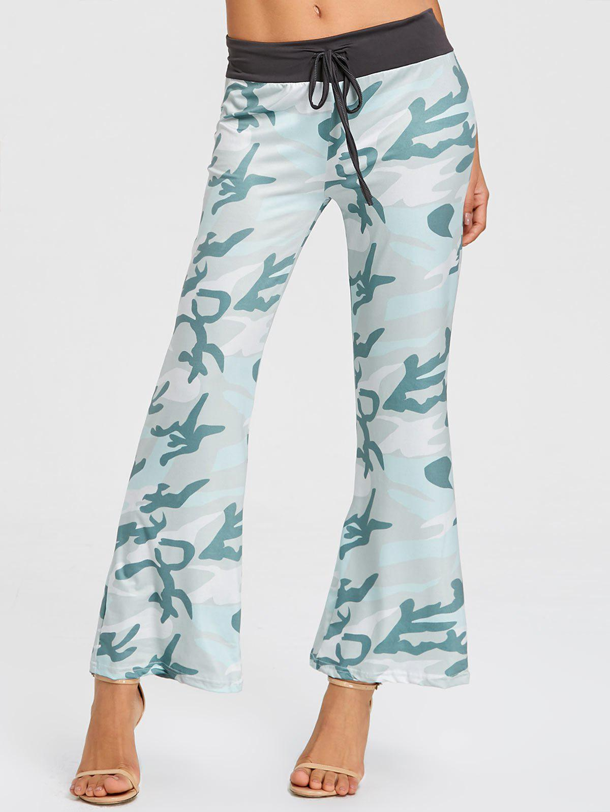 Drawstring Camo Print Pajama Pants - LIGHT GREEN L