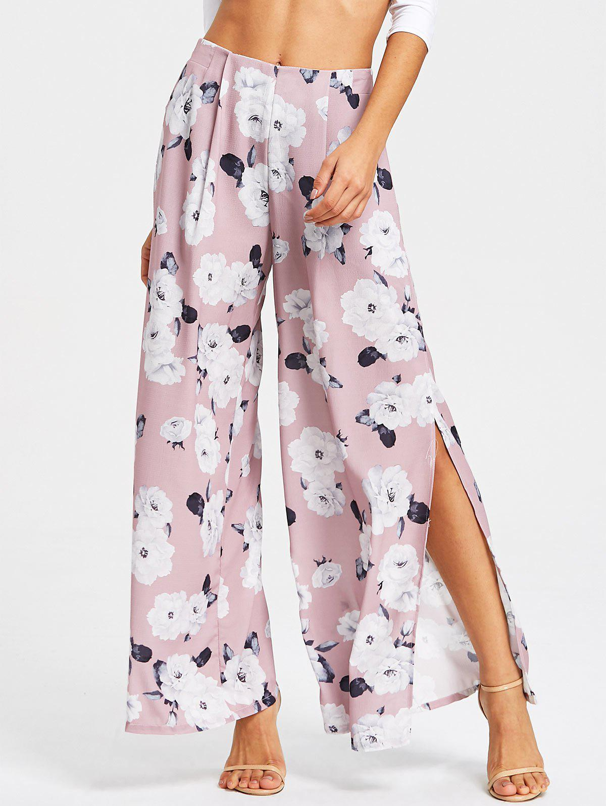High Slit Floral Print Wide Leg Pants - PALE PINKISH GREY S