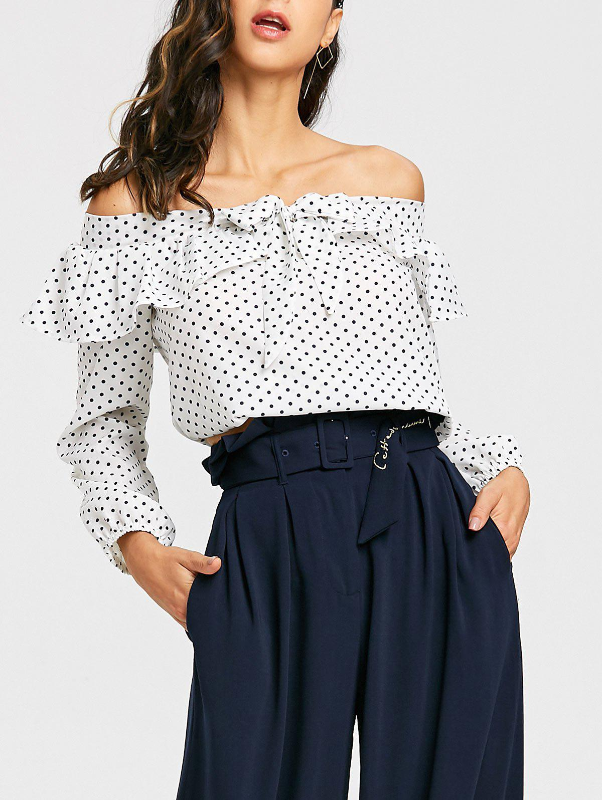 Polka Dot Off The Shoulder Cropped Blouse - WHITE S