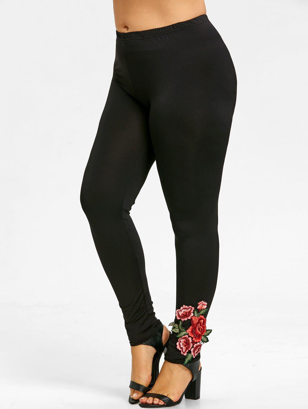 Soft Plus Size Floral Embroidered Pants - BLACK 2XL