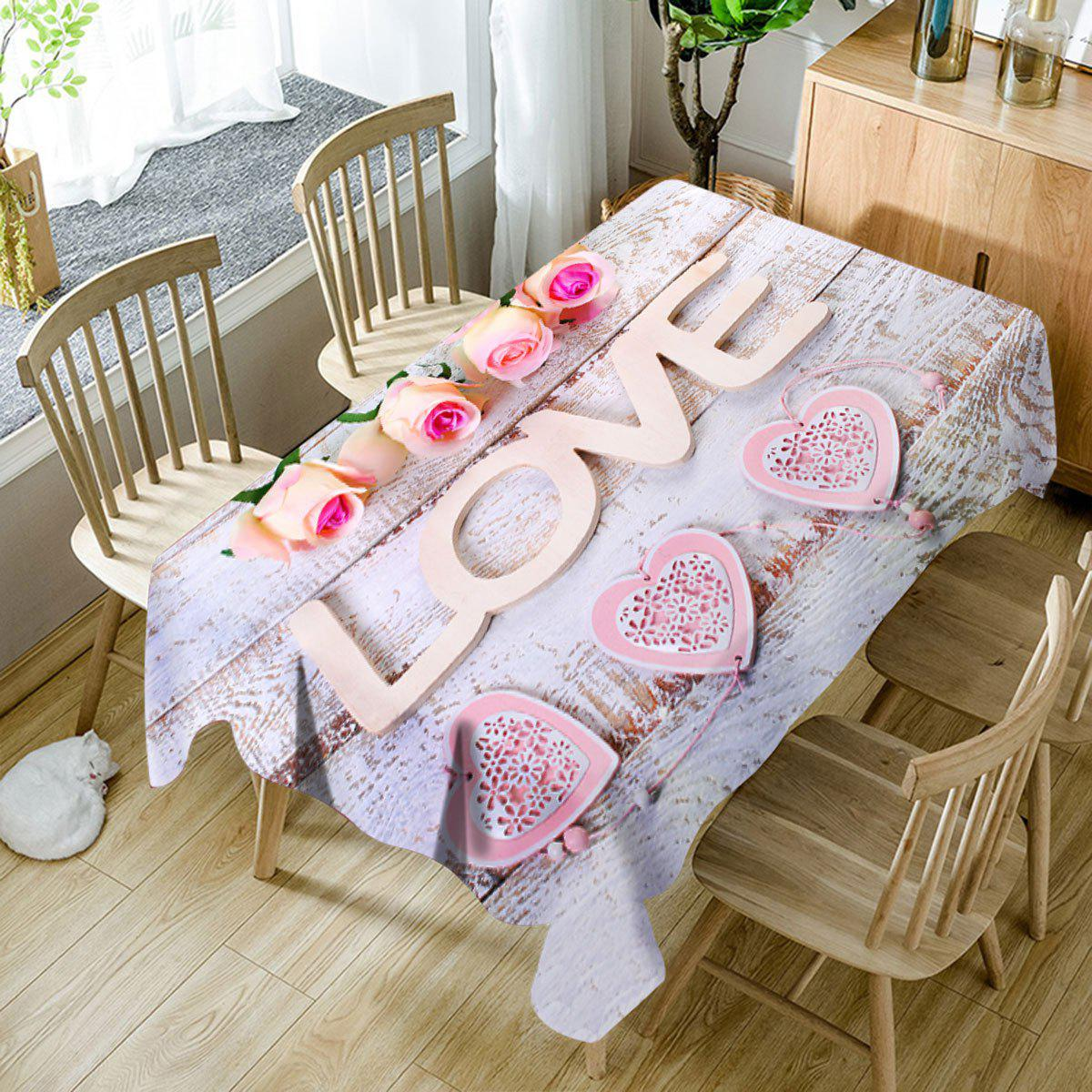 Valentine's Day Roses Love Hearts Printed Waterproof Table Cloth - COLORMIX W60 INCH * L84 INCH