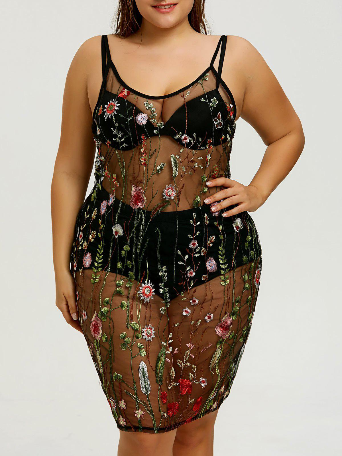 Plus Size Sheer Embroidered Slip Cover-up Dress - COLORMIX XL