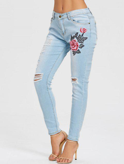 Floral Embroidery Distressed Skinny Jeans - LIGHT BLUE 2XL