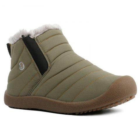 Stitching High Top Casual Shoes With Faux Fur - ARMY GREEN 40