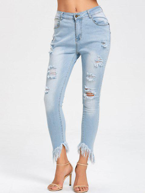 Frayed Hem Ripped Skinny Jeans - LIGHT BLUE XL