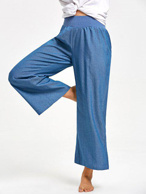 Elastic Waist Wide Leg Pants - DENIM BLUE L