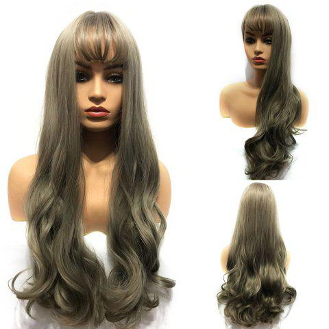 Long Neat Bang Wavy Capless Synthetic Wig - AOKI LINEN GRAY