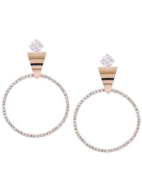 Pair of Inverted Triangle Decorated Rhinestone Earrings - GOLDEN
