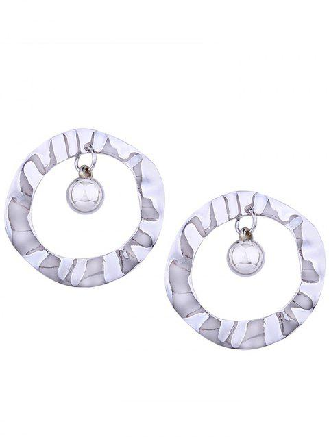 Pair of Metal Hollow Out Round Shape Stud Earrings - SILVER