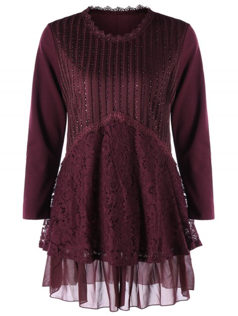 Plus Size Lace Trim Layered Tunic Blouse - WINE RED XL