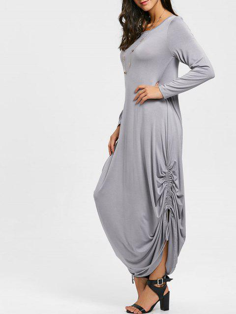 077ff553ed LIMITED OFFER  2019 Drawstring Cocoon Jersey Maxi Dress In GRAY S ...